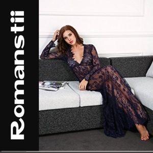 Romanstii Lace Maxi Dress, Long Sleeves V-neck XL